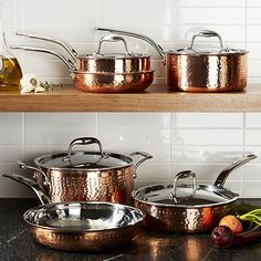 Lagostina Martellata Hammered Copper 10-Piece Cookware Set | Crate and Barrel