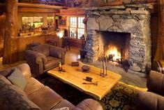 log fire in log cabin - Google Search
