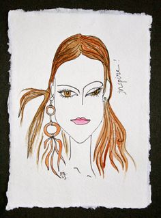 Items similar to INSPIRE. Exclusive Aquarelle & Ink Drawing on High Quality Cotton Paper. on Etsy Beauty Art, Inspire, Ink, Studio, Drawings, Unique Jewelry, Creative, Handmade Gifts, Artist