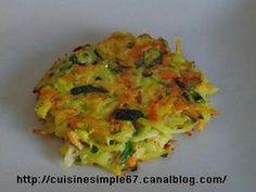 Galettes légumes - 2 pommes de terre moyenne, 2 carottes, 1 courgette, 1 échalote, 2 cs farine, 1 œuf, persil, huile olive. Éplucher les carottes, pdt, échalote, les passer à la râpe, yc courgette. Les mettre dans une passoire, laisser 1 h. Mettre les légumes égouttés dans saladier, mélanger avec farine + œuf, persil, saler, poivrer. Chauffer l'huile et faire cuire des tas de légumes, cuire enc. 5-7 mn par côté.