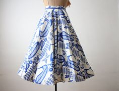 50s novelty print skirt - 1950s skirt - 1950's bird print circle skirt