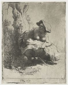 Rembrandt Harmenszoon van Rijn - Woman making water and defacating, etching - 1631. YES, THAT REMBRANDT.