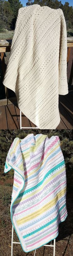 """12 Step Sampler Blanket, pattern by We-R-Soto $2.99. 50""""x54"""", 3000yds, hook size 'H'. Worked here in ILTY, pretty mixed-stitch texture.  #crochet #afghan #throw"""
