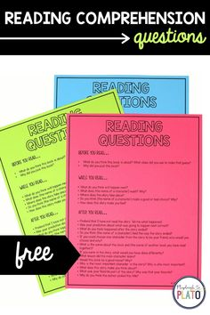 Snag your free reading comprehension questions! Perfect to use as an anchor chart for kids while independent reading or to teach into during a guided reading group! #readingcomprehension Reading Groups, Reading Skills, Guided Reading, Free Reading, Reading Comprehension Strategies, Comprehension Questions, Teaching Strategies, First Grade Teachers, New Teachers