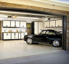 Garage that is clean but still has manly potential.