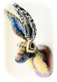 Hare Faux Taxidermy Replica Animal Fake Fauxidermy Decorative Mount Mounted Wall Decor Fabric Rabbit Textile Art Handmade Sewing  Mr Hamish