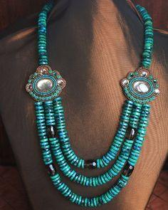 Chrysocolla & Smoky Quartz Multi Strand Necklace