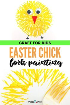 Fork painting is a great way to get kids started painting. Make this adorable Easter chick out of some card and paint. The perfect spring art project! Easter crafts for kids #forkpainting #easterartprojectsforkids #easterchickforpainting #forkprints #artprojectsforkids #eastercrafts