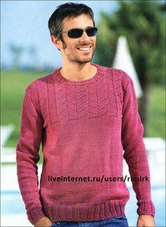 Легкий мужской пуловер из хлопковой пряжи (спицы). Обсуждение на LiveInternet - Российский Сервис Онлайн-Дневников