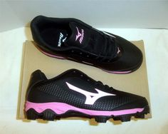 Womens 159060: Mizuno Finch Franchise 5 Women S Softball Cleats Nib Black Pink Size 8 -> BUY IT NOW ONLY: $34.99 on eBay!