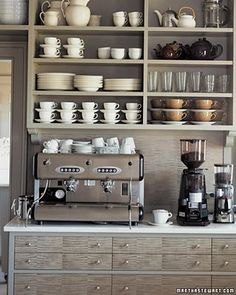 Open shelving in a home coffee bar. This would help really make the coffee bar feel like a distinctly different area of the kitchen. Could also work well in a butlers pantry / coffee bar area. Cocina Martha Stewart, Martha Stewart Home, Küchen Design, Home Design, Design Ideas, Design Inspiration, Interior Design, Modern Interior, Home Bar Designs