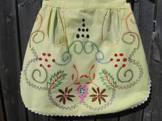 clearance priced-Vintage Portugal Hand Embroidered Apron by jenEembroidery, $19.00