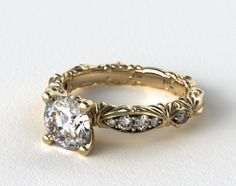 14K Yellow Gold Single Row Pave Cascading Engagement Ring