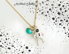 Astronaut Figure Spaceman Space Planet Moon Chic Pendant Necklace by JerBrill. by JerBrill on Etsy