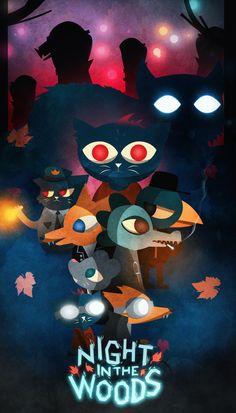 I saw a poster of the show Stranger Things and got me inspired. so here is a new NITW poster! Hope you like it! Night In The Wood, Witch House, Indie Games, The Villain, Furry Art, Mlp, Game Design, Wall Collage, Stranger Things