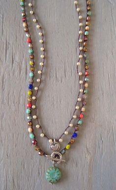 Pearl crochet necklace 'Tiny Treasures Glass Pearl' by slashKnots, $49.00