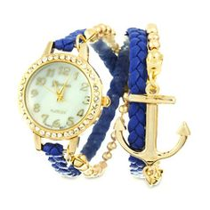 Sterling Silver Jewelry - Navy and Gold CZ Braided Anchor Wrap Watch