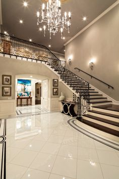 15 Extremely Luxury Entry Hall Designs With Stairs - design-ideen Home Stairs Design, Dream Home Design, Home Interior Design, House Design, Stair Design, Modern Interior, Entrance Hall Decor, Entry Hall, Entrance Halls