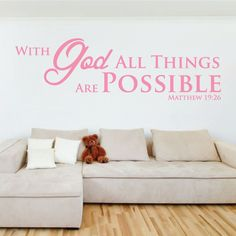 With God All Things Are Possible Decal - 0071 Scripture Wall Decal Quote, bible verse decal