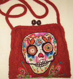 Hand Felted Clutch or Cross Body Bag Day Of The Dead by mkervin, $65.00