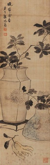 Chen Hongshou (Chinese, 1768–1822) Title: 晚节冷香 Medium: hanging scroll; ink and color on silk