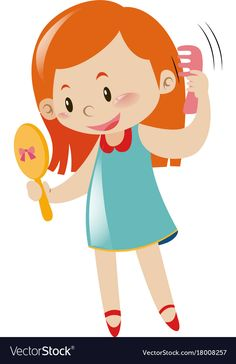 Girl holding mirror and comb Royalty Free Vector Image Body Preschool, Preschool Classroom, Preschool Worksheets, Preschool Activities, Cute Cartoon Girl, Cartoon Pics, Cute Monsters Drawings, Button Family, Nurse Teaching