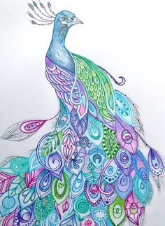Peacock Art Print. This would be such a cool tattoo.