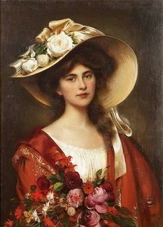 View Portrait of a young woman in a hat holding a bouquet of flowers by Albert Lynch on artnet. Browse upcoming and past auction lots by Albert Lynch. Victorian Art, Victorian Women, Female Portrait, Female Art, Woman Painting, Painting & Drawing, Vintage Art, Vintage Ladies, Vintage Woman