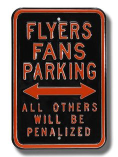 Philadelphia Flyers Penalized NHL Parking Sign from Man Cave Kingdom.