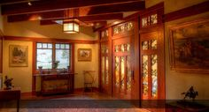 Blacker House Library Ceiling Mount Mahogany Lantern - Greene and Greene Style Craftsman Lighting Craftsman Style Interiors, Craftsman Interior, Craftsman Style Homes, Craftsman Bungalows, Bungalow Interiors, Craftsman Decor, Craftsman Chandeliers, Craftsman Lighting, Stained Glass Door
