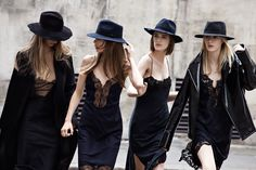 Zara  all black lingerie slip dresses hats