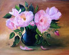 Rózsák kék vázában. olaj, farost, 30x40