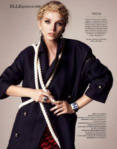 Feminized Nautical Fashion - The ELLE Russia October 2013 Editorial Stars Model Diana Khullina (GALLERY)