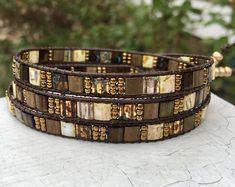 Bead Leather Wrap Bracelet - Tile Bead Bracelet - Gold Bead Wrap - Chan Luu Style - Leather Bracelet  - Large Wrist - Boho - Valentine Gift by NeedsToBead on Etsy
