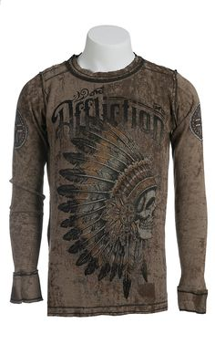 Affliction Men's Peace Pipe Tobacco Long Sleeve Thermal Tee - Reversible
