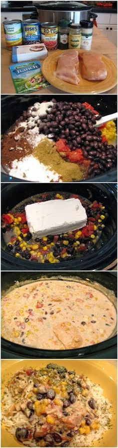 Crock Pot Cream Cheese Chicken Chili 2 chicken breasts, still frozen 1 can Rotel tomatoes 1 can corn kernels, do not drain 1 can black beans, drained and rinsed 1 pkg. Ranch dressing mix 1 T cumin 1 t chili powder 1 t onion powder 1 pkg. Crock Pot Recipes, Crockpot Dishes, Crock Pot Slow Cooker, Crock Pot Cooking, Chili Recipes, Slow Cooker Recipes, Mexican Food Recipes, Great Recipes, Cooking Recipes
