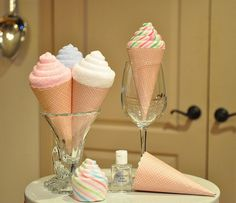 Baby Washcloth Ice Cream Cone and Waffle Cone Paper