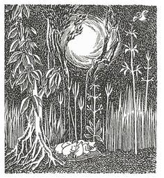 """""""He jakoivat liemen viiteen yhtä suureen osaan, ja kun se oli lopussa, he ryömivät yhtään läjään makuumatolle, jonka Niiskuneiti oli palmikoinut kokoon ruohoista."""" Muumipeikko ja pyrtötähti"""