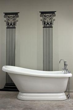 Vintage Single Slipper Antique Free Standing Pedestal Bath Tub