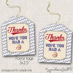 Vintage Baseball Favor Tags  Printable  Instant by parchmentpath, $4.50