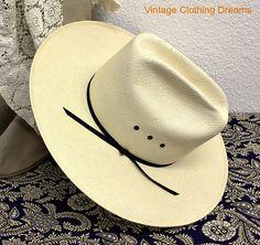 a40760c958f6c Stetson Straw Hat Vintage Cowboy Hat 1960s 60s Mid Century Straw Hat 23  inches