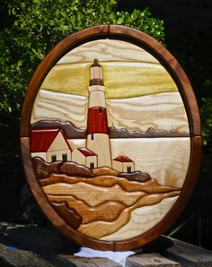 Hardwood Lighthouse Intarsia Wall Art by SierraWoodSculptures, $525.00