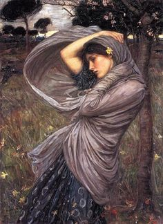 Boreas - Artist: John William Waterhouse - Completion Date: 1903 - Style: Romanticism - Genre: mythological painting - Technique: oil - Material: canvas - Gallery: Private Collection - http://www.wikiart.org/en/john-william-waterhouse/spring-spreads-one-green-lap-of-flowers-1910