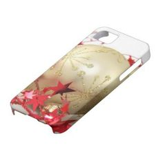 Bright Shiny Gold Christmas Ornament and Red Stars iPhone 5 Cases