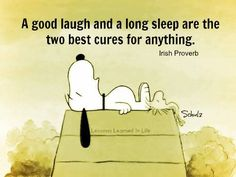 A good laugh and a long sleep are the two best cures for anything - Irish Proverb