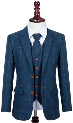 Blue Overcheck Twill Tweed Mens 3 Piece Suit – Empire Outlet Tweed Men 9181f71a78d9