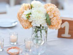 HYDRANGEAS + mums or chrysanths centerpiece - Malibu Wedding from Karen Wise Photography