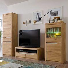 wohnzimmer wohnwand in weiß beige hochglanz beleuchtung (4-teilig ...