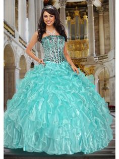 Blue Quinceanera Dresses - Turquoise Dress With Sparkly Corset Top