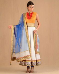 White and Orange Sleeveless Rs 14600